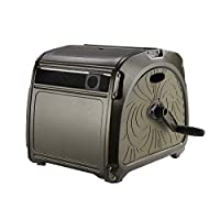 Giraffe Metal Hose Reel, Durable Hideaway Garden Hose Cabinet with Crank Handle, 130ft Hose Capacity/Auto-Track System/Decorative …