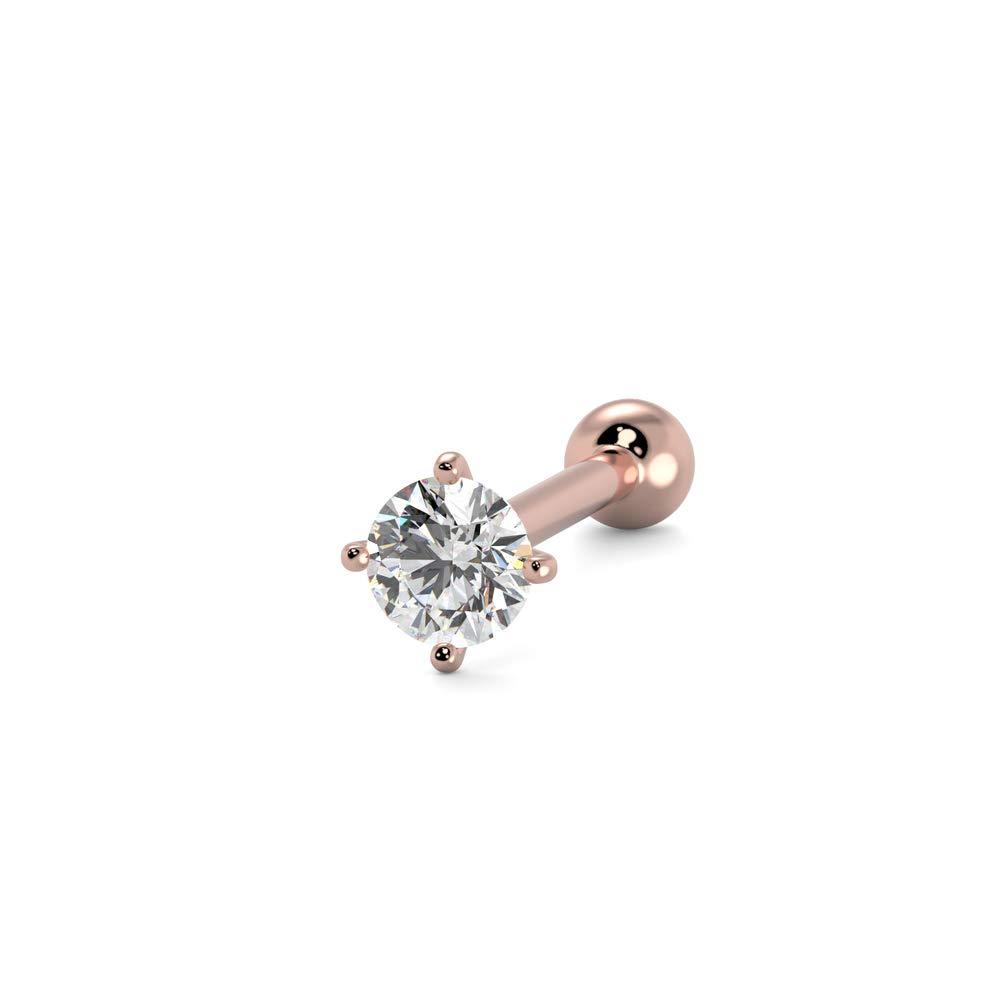14K ROSE GOLD IP SIMULATED DIAMOND CROSS TRAGUS LABRET CARTILAGE STUD