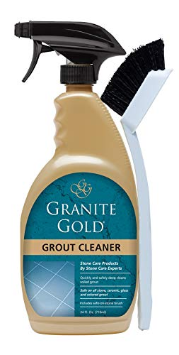 Granite Gold Grout Cleaner And Scrub Brush - Acid-Free Tile And Grout Cleaning For Dirt, Mildew, Mold - 24 Ounces (Best Grout Cleaner For Shower)