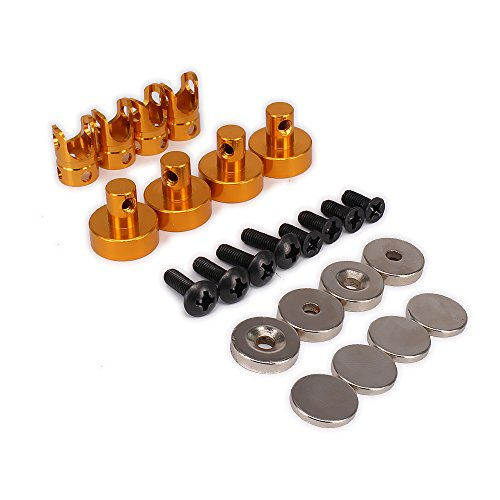 RCAWD Shell Mount Posts Magnetic Stealth Invisible Body 21mm N10080 Long Alloy Aluminum for 1/10 RC Hobby Model Car HSP WLtoys Axial Himoto Traxxas HPI Redcat 4Pcs(Gold)