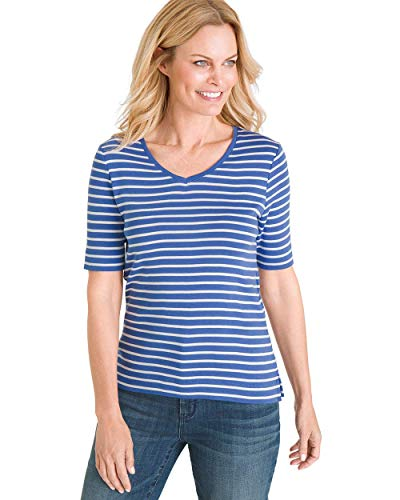 Chico's Women's Striped Supima Cotton V-Neck Tee Size 8/10 M (1) Blue