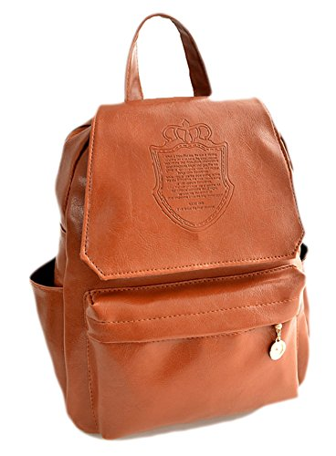Coco*Store New Fashion Women's Leather Travel Satchel Shoulder Bag Backpack School Rucksack (Brown)