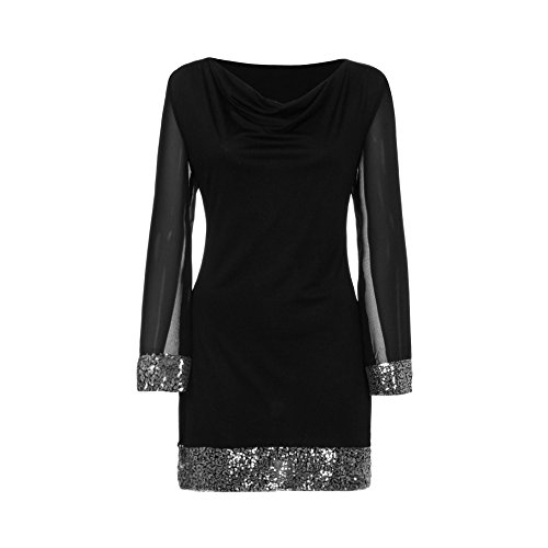 T Cuello Negro Mujeres Dress Estirado Túnica Falda Shirt Con Camiseta Para Suave Redondo Lentejuelas Mujer Y Vestidos De Abrigo Tops Vestido,riou Manga Larga qHBaH