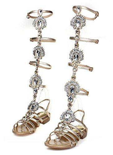 YEEY Sandalias de verano de la rodilla de las señoras alto abierto Toe elegante rhinestones botas sandalias zapatos gold (low heel)