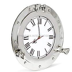 Nagina International 12 Premium Silver Lined Aluminum Nickel Plated Nautical Ship's Porthole Time's Clock   Maritime Wall Decor & Exclusive