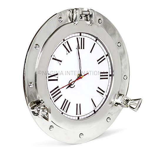 Nagina International Premium Silver Lined Aluminum Nickel Coated Nautical Ship's Porthole Window ! Maritime Wall Decor Mirror | Exclusive (15 Inches, Clock) (Clock Nautical Outdoor)