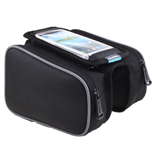 Roswheel Waterproof Cycling Bags Bike Front Frame Bag Tube Pannier Double Pouch for 5.5 inch Cellphone Touchscreen Pocket (black Type1)
