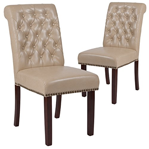 Flash Furniture 2 Pk. HERCULES Series Beige Leather Parsons Chair with Rolled Back, Nail Head Trim and Walnut Finish