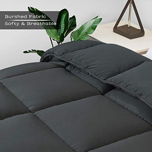 Queen Comforter Duvet -All Season Reversible Down Alternative Quilted Comforter and Duvet Insert with Corner Tabs - Hypoallergenic -Double Plush Fabric (Full, Dark Gray, 88 x 88 inches)