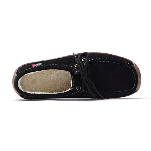 Mocassins De Chaussures En Femmes Noir Loafers Suède Laine Doublure Casuel Z Confort suo Conduite 5wqx8FxYR