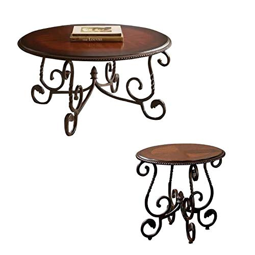 Mediterranean Set Table - Steve Silver Crowley 2 Piece Italian Inspired Coffee Table and End Table Set in Cherry
