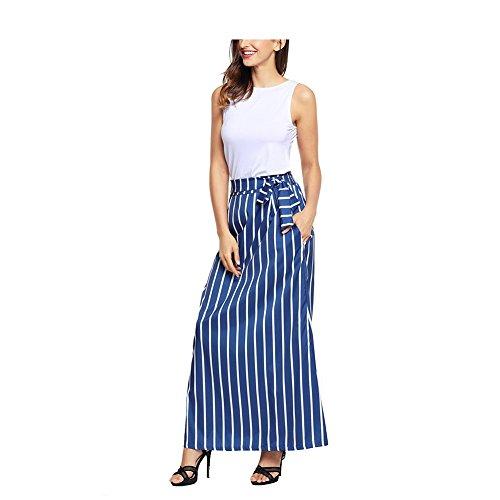 FuweiEncore Jupe Rayures Femmes Jupe mi-Haute Taille mi-Jupe Swing a-Line Jupe Maxi lgante Bleu