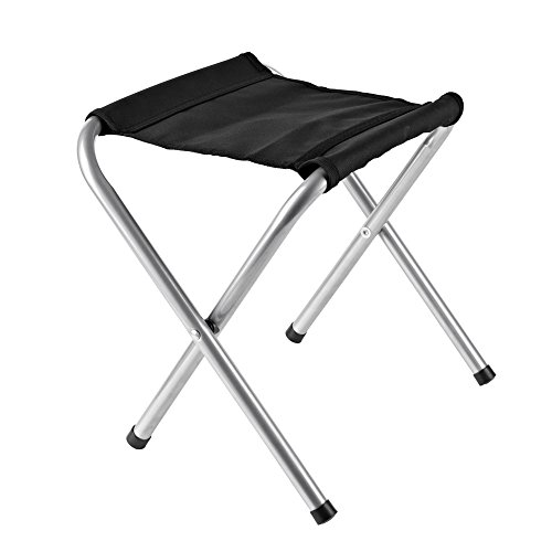 Acko Folding Camp Stool Holds up to 250 LBS, Light and portable Rambler Stool Perfect Companion to Hiking Alone or with Friends 10x11x16 inches (Black)