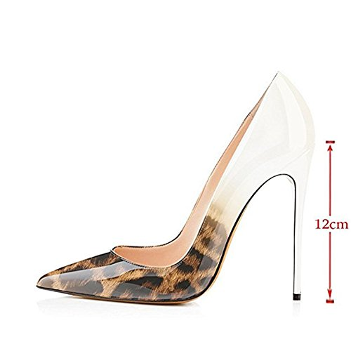da E Pelle ACEDICHY Print Sposa Ladies in con Verniciata amp; Party Pizzo Abito Pumps Bianco Leopardo Gradient wCARq7