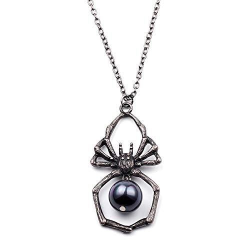 PAPWELL Vintage Retro Black Widow Spider Necklaces & Pendants – Marvel Avengers Deluxe Halloween Costume Accessory -