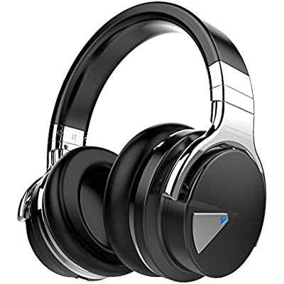 COWIN Active Noise Cancelling Bluetooth Headphones with Microphone Hi-Fi Deep Bass Wireless Headphones Over Ear  Comfortable Protein Earpads  Hours Playtime for Travel Work Computer Black