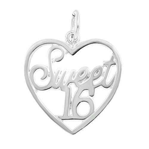 (Silver on the Rocks Heart Charm, Sterling Silver Sweet 16 Jewelry for Necklace, Bracelet)