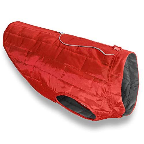 Kurgo Loft Jacket, Reversible Dog Coat, Dog Coat for Cold Weather, Water-Resistant Dog Jacket with Reflective Trim, Red/Grey, Medium ()