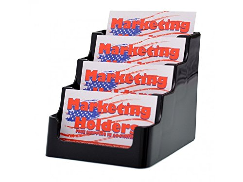 Marketing Holders 4-Pocket Countertop Business Card Holder, Holds 200 2 x 3 1/2 Cards, Black - Sold AsMarketing Holders 1 Each - Display multiple cards in one convenient holder. (Black, 4) by Marketing Holders