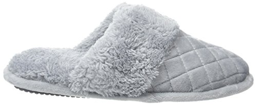Open Slippers Scuff Cuff Sleet Plush W Velour WoMen Quilted Back Wide Dearfoams Grey wW8vqFHUx