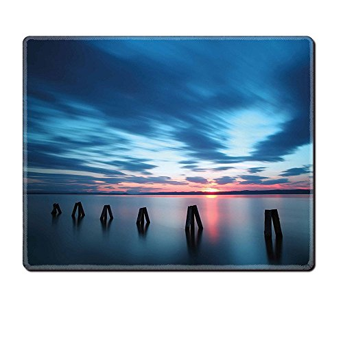 Mouse Pad Unique Custom Printed Mousepad Ocean Calm Seascape At Sunset In Vietnam Motion Effected Clouds Twilight Scenery Dark Blue Blue Coral Stitched Edge Non Slip (Minecraft Halloween Vietnam)