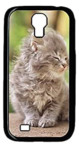 Brian114 Samsung Galaxy S4 Case, S4 Case - Cool Black Back Hard Case for Samsung Galaxy S4 I9500 Windy Day Kitty Design Hard Snap-On Cover for Samsung Galaxy S4 I9500
