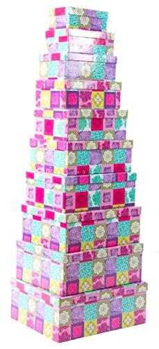Item - Set 10 Cajas de cartón Forrado, diseño Flowers, 43 x 35 x
