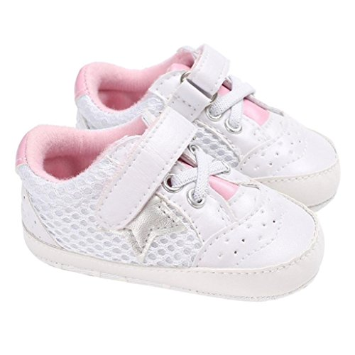WeiYun Stars Baby Walkers Baby Shoes Sneakers Princess Soft Sole Shoes Toddler Casual Shoes (12Months, Pink) - Image 2