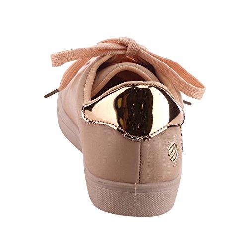 Betani Ei33 Scarpe Da Donna Stringate Con Colletto Basso E Colletto Basso Rosa