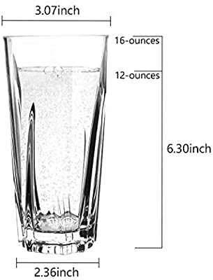 100/% BPA-free Break Resistant Water Tumblers Dishwasher Safe Plastic Glassware PEMO115-0124-13 PEMOTech Plastic Drinking Glasses, 16 Oz Restaurant Quality Clear Acrylic Drinking Glasses Cups Set 4 Pack
