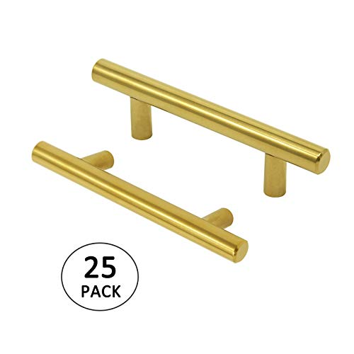 Gold T Bar Handles for Cabinet 25PACK Drawer Pulls 3 inch Stainless Steel Brushed Brass Cabinet Hardware 5