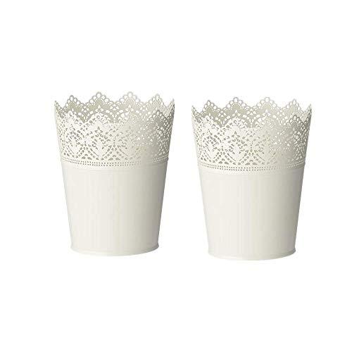 (Skurar Plant Pot 7.48x6 inch,Flower Pot Iron Flower Pot Hollow Flower Planter Holder Crown Lace Pierced Flower Vase Storage Pencil Holder Home Decoration Off-White in/Outdoor-Set of 2)
