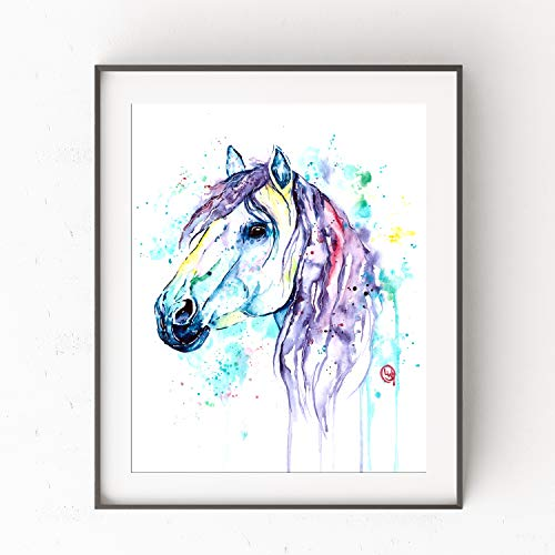 Fantasy Dog Bed - Pink/Purple Horse Wall Art by Whitehouse Art | Room Decor For Teen Girls, Girls Room Decor, Baby Girl Nursery Gifts | Professional Print of a Horse Original Watercolor Painting | Artwork | 2 Sizes