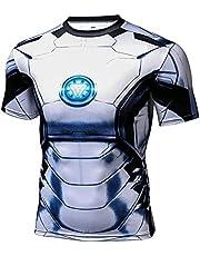 Towel Rings Superman Compressie T-shirt voor heren, met korte mouwen, voor hardlopen, sport en hardlopen