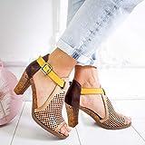Kauneus Women's Cage Cut Out Stacked High Heel Open Toe Pump Platform Sandals Beige