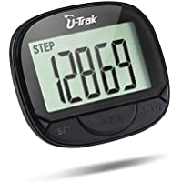 U-Trak Simple Pedometer Clip Step Counter Tracking Accurate Steps/Walking Distance in Miles/KM/Calories Large LCD Display Portable Fitness Tracker Walking Running Outdoor Sports
