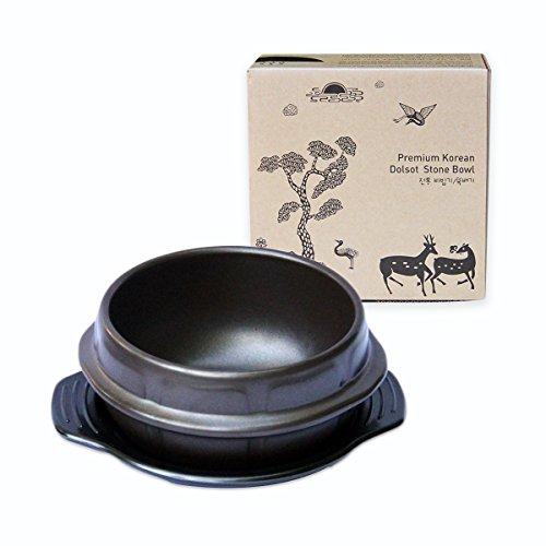 Crazy Korean Cooking Korean Stone Bowl (Dolsot), Sizzling Hot Pot for Bibimbap and Soup - Premium Ceramic (Small - No Lid) (Premium Stone)