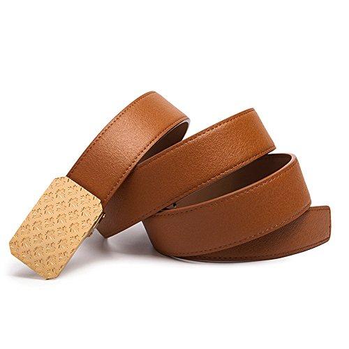 MONHINTY Men's Reversible Leather Belt with Plaque Buckle 47.2