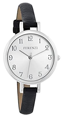 Ferenzi Women's | Classy Large Silver Face Watch with Thin Black Band | FZ15502