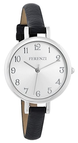 Face Leather Strap Watch - Ferenzi Women's | Classy Large Silver Face Watch with Thin Black Band | FZ15502