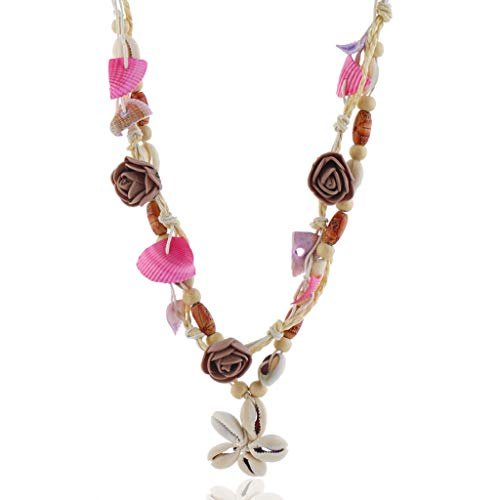 (Vintage Natural Shell Ladies Necklace Starfish Pendant Decoration Bohemian Style Hawaii Leather Rope Necklace)