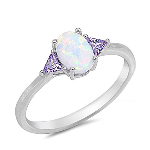 Sterling Silver Bright Women's Purple Cubic Zirconia White Lab Opal Oval Ring (Sizes 4-10) (Ring Size 7) (Sale Deals)