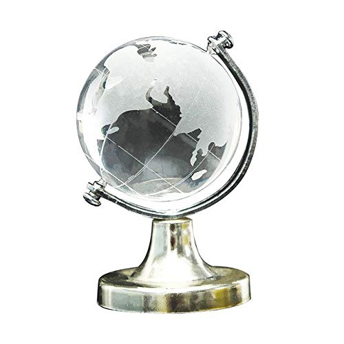 ZAMTAC HOT Crystal Glass Frosted World Globe Stand Paperweight for Office, Home, Desk Decoration - (Color: Clear)