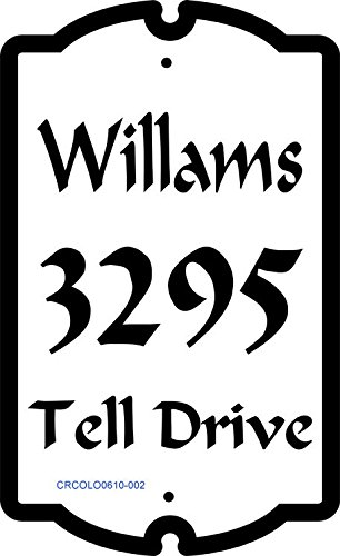 Colonial Style Address Sign - Custom Address Plaque with Your Name, House Number, and Street # CRCOLO0610002