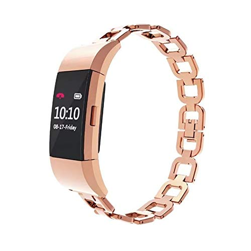 - Compatible with Fitbit Charge 2 Bands, Stainless Steel Metal D-Link Bracelet Strap Jewelry Bangle Replacement Wristband for Fitbit Charge 2 (Rose Gold)