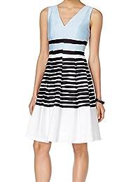 Anne Klein Womens Poplin Sleeveless Party Dress