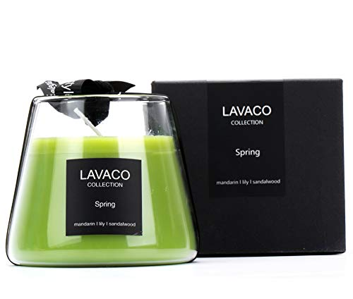 LAVACO Spring Season Scented Candles 8.4oz Jar Soy Candle Gift, Natural Aromatherapy Soy Wax with Mandarin, Lily and Sandalwood Fill in The Designer Hand-Blown Glass.