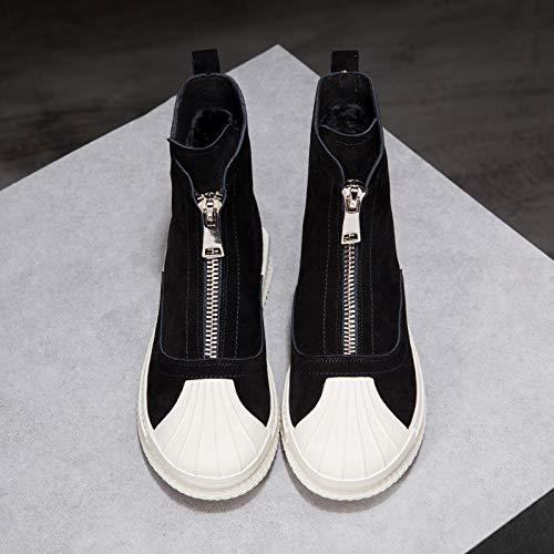 Mode Hiver Enfants Éclair Bottes Bottillons Martin Avant Chaussures Shukun Épaisse Fermeture Neige Black De T6qwxF7