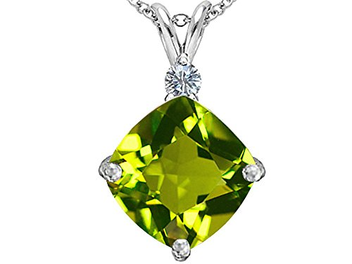 (Star K Large 12mm Cushion Cut Simulated Peridot and Cubic Zirconia Pendant Necklace Sterling Silver)