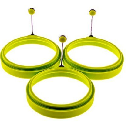 Premium Silicone Egg Cooker Ring / Pancake Rings 2-Pack Silicone Egg Ring - Egg Mold - Silicone Pancake (2, green)